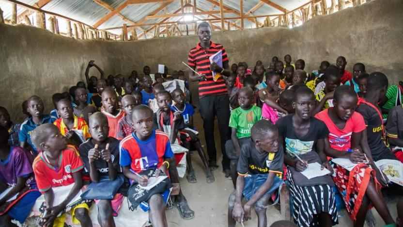 Primary school students during a lesson in Ganyiel, South Sudan.