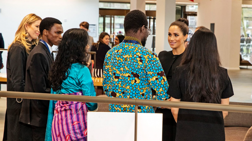 Emmanuel Jesse Ariko (left) and Ephraim Kisangala meet with HRH Duchess of Sussex