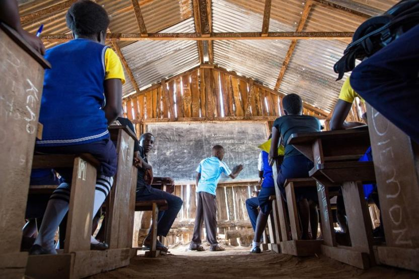 A Mathematics class at King's College Secondary School in Yambio, Gbudwe State.