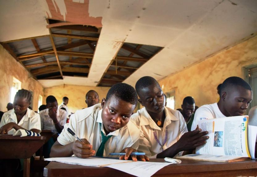 Students in Yambio taking a biology test.