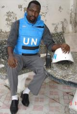 Mukhtar in protective UN uniform