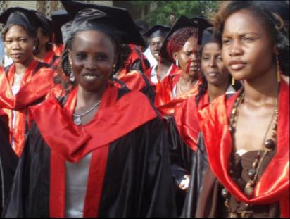 Photo of women graduating.